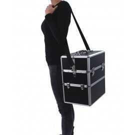 Kuferek kosmetyczny duży 3 półki czarny