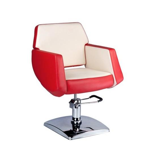 BD-1088 Fotel fryzjerski NICO Czerwonyo-kremowy